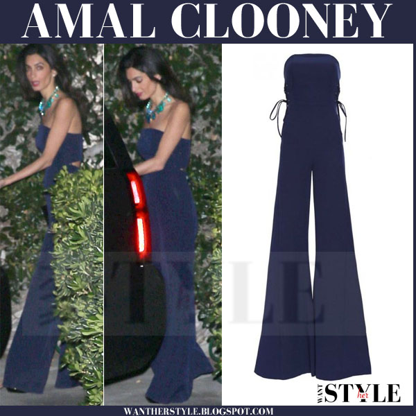 Amal Clooney in navy blue strapless jumpsuit misha nonoo what she wore outfit