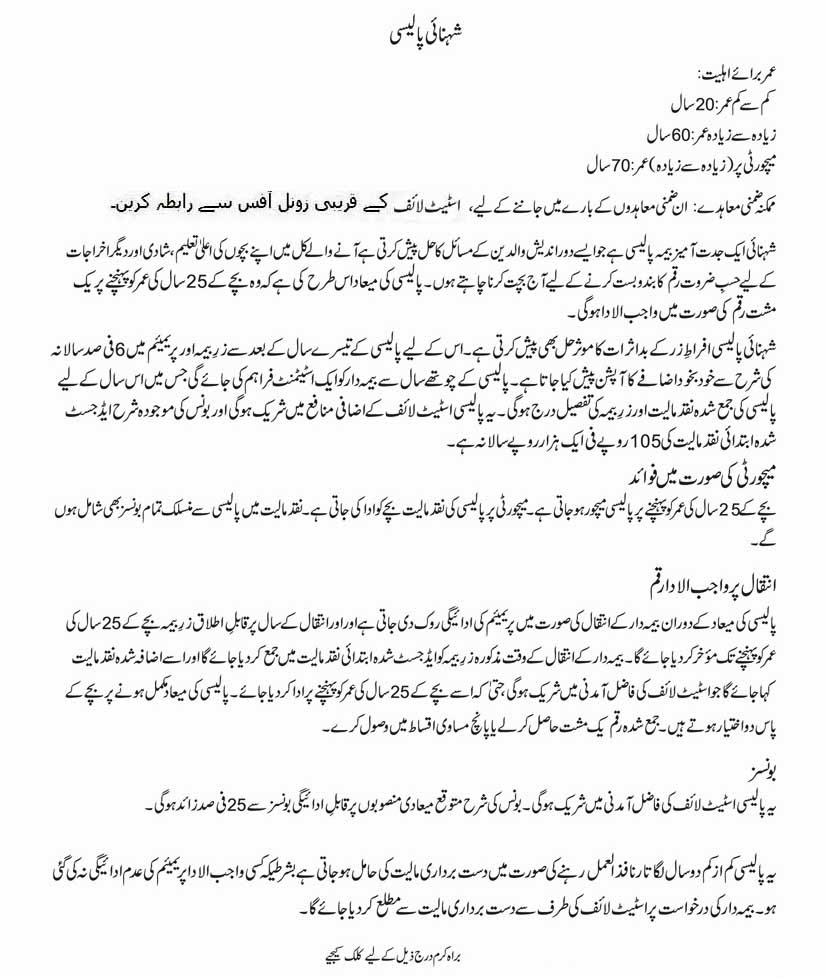 life plans in urdu | state life insurance corporation of pakistan