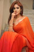 Sony Charista Glamorous in Saffron saree-thumbnail-15