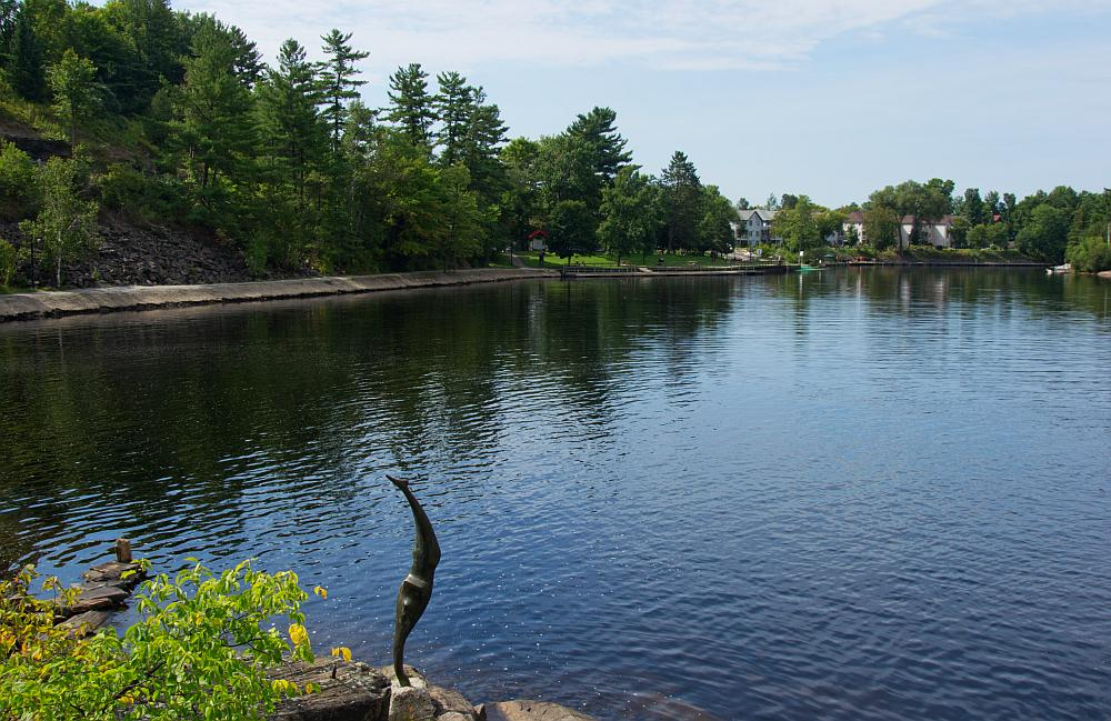 The waterfront park as seen from the bottom of the Lower Falls in Bracebridge.