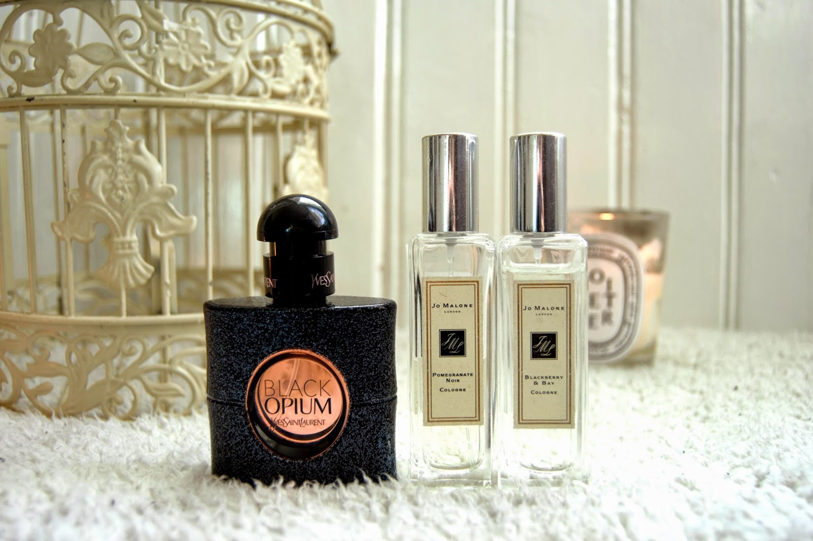 Winter-fragrance-Jo Malone-Pomegranate Noir-Blackberry and Bay-YSL-Black Opium