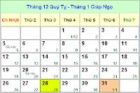 Xem lịch âm lịch âm 2014