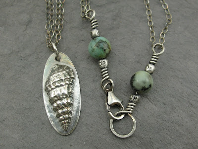 PMC fine silver seashell & African turquoise necklace
