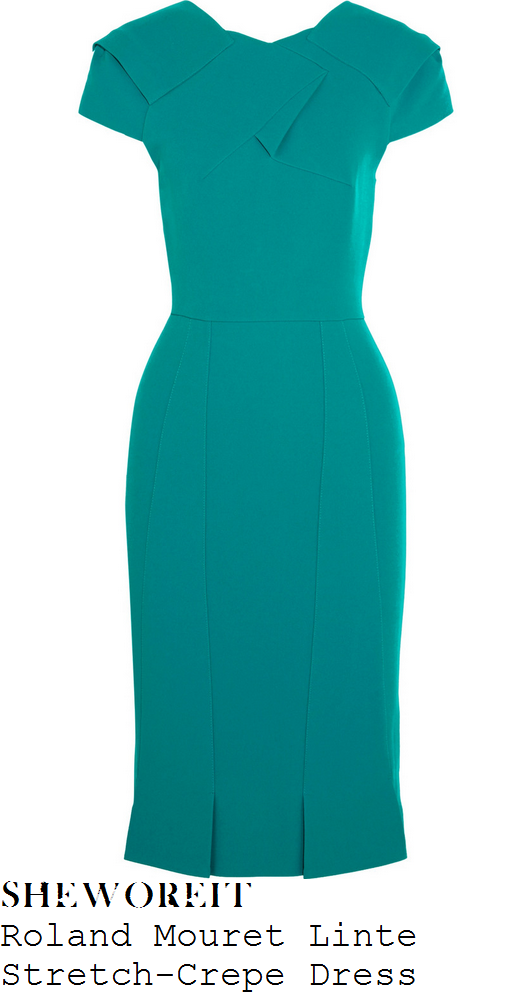 holly-willoughby-jade-green-cap-sleeve-fold-detail-pleated-pencil-dress-this-morning