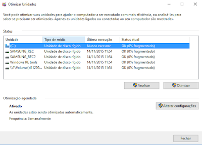 Como desfragmentar o disco rígido no Windows 10