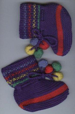 Пинетки, связанные спицами.  Описание работы Башмачки для малышей и носки вяжут именно так - всего на двух спицах.