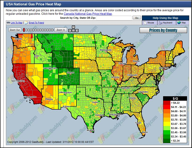 More on Regional Disparities in Gas Prices - AEI Cheap Gas Map on