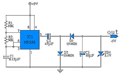 9 to -5 Volt DC Converter Circuit Schematic