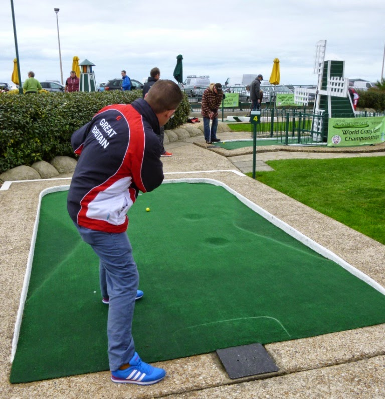 Richard Gottfried playing hole 4 at the 2014 World Crazy Golf Championships in Hastings