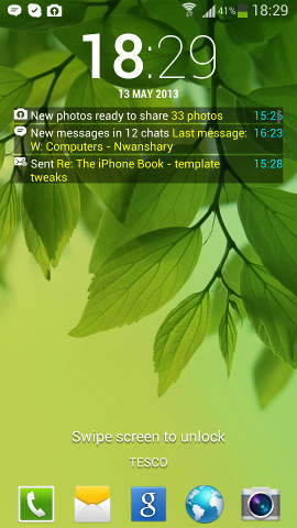 Lock screen notifications on Samsung Galaxy S4 and S3
