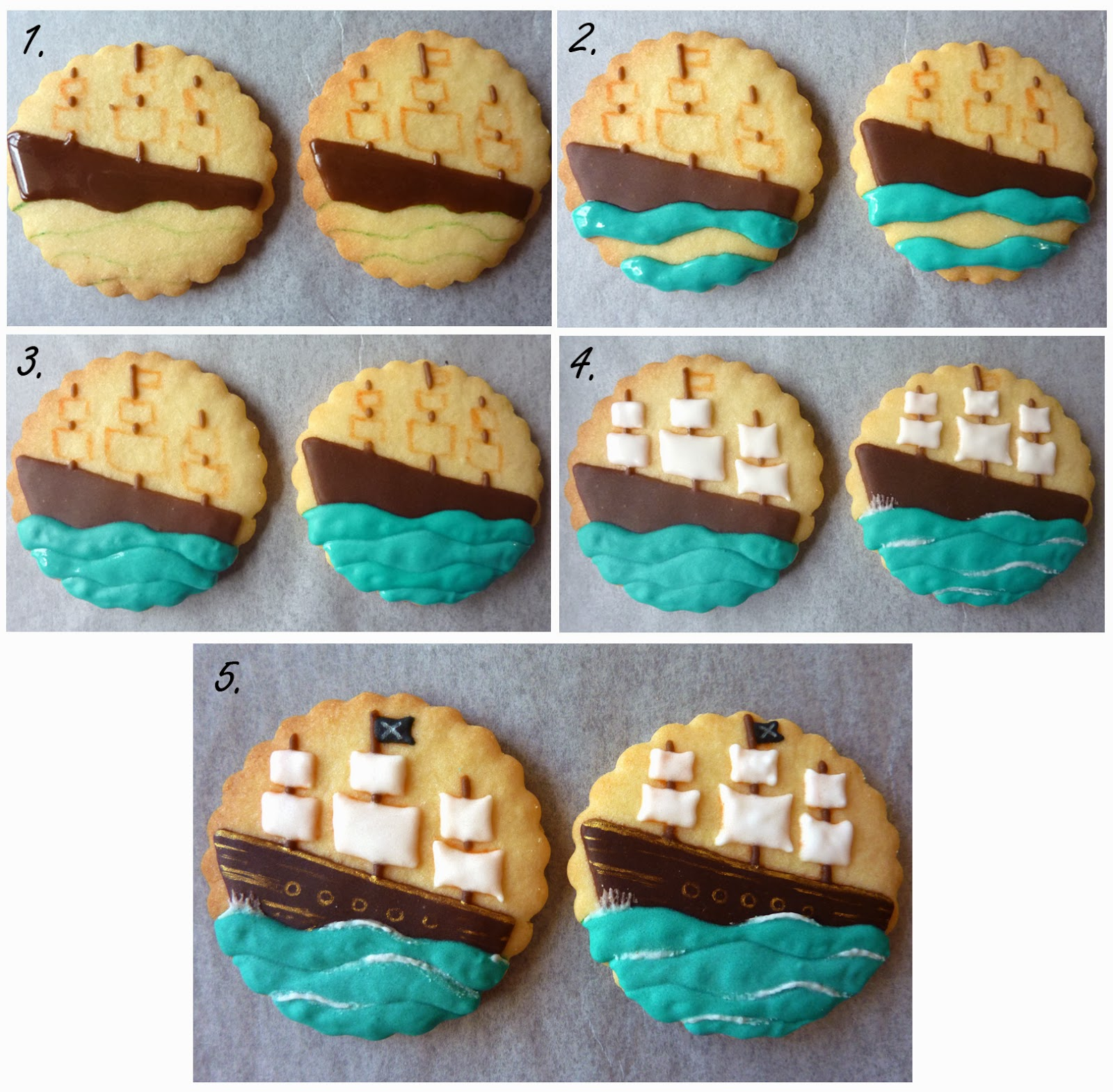 Pirate Ship Cookie Tutorial