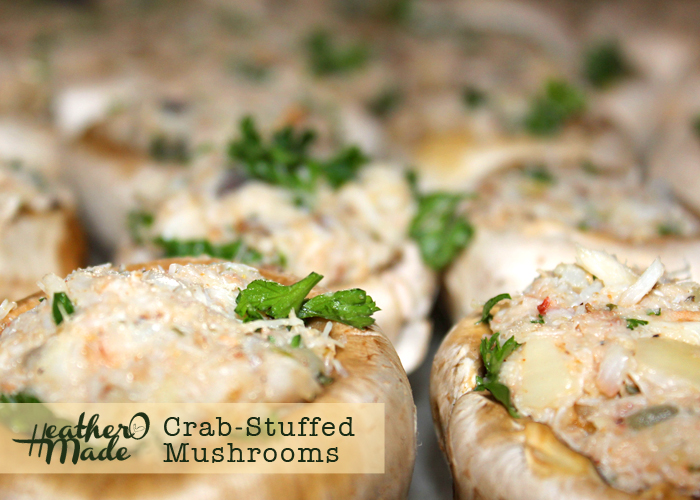crab-stuffed mushrooms. recipe. heatheromade.