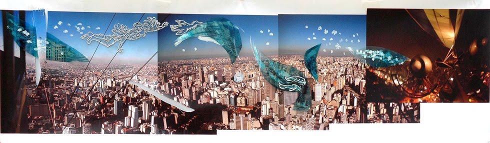 Foto Gigantografia. 2006. desenho s/ foto bordada. 160cm X 640cm.