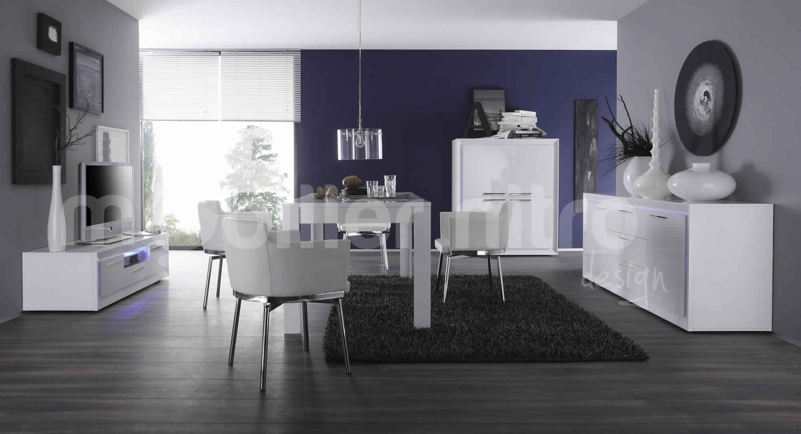 salle manger moderne blanche salle manger. Black Bedroom Furniture Sets. Home Design Ideas