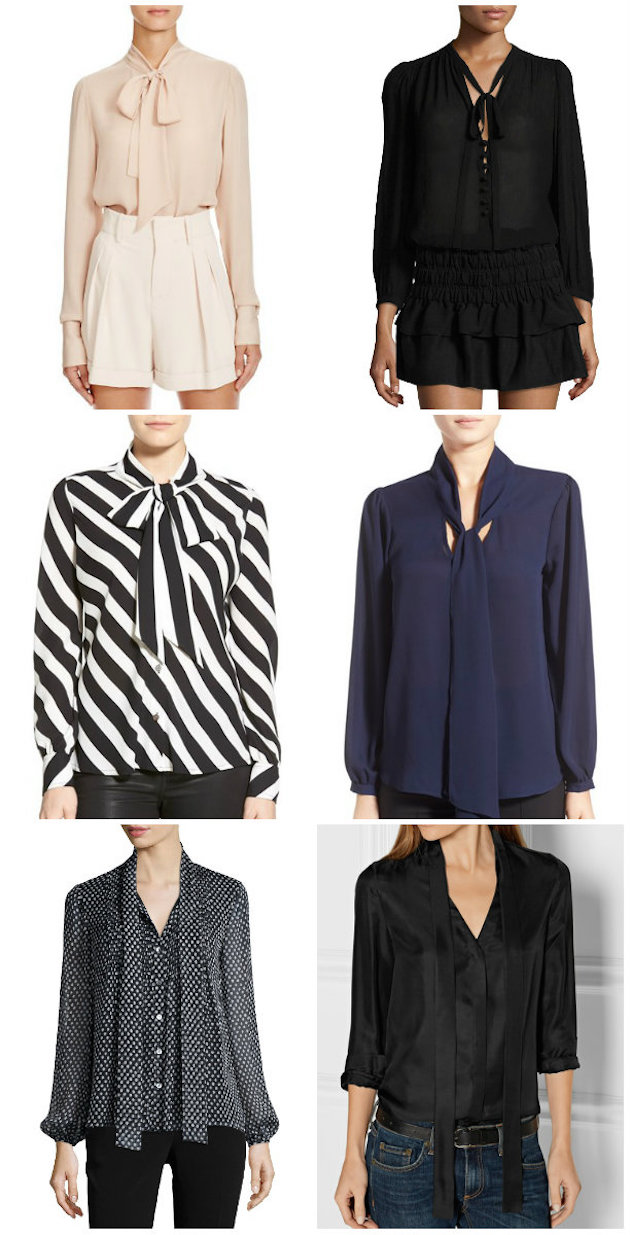 Collage of 6 pussy-bow blouses