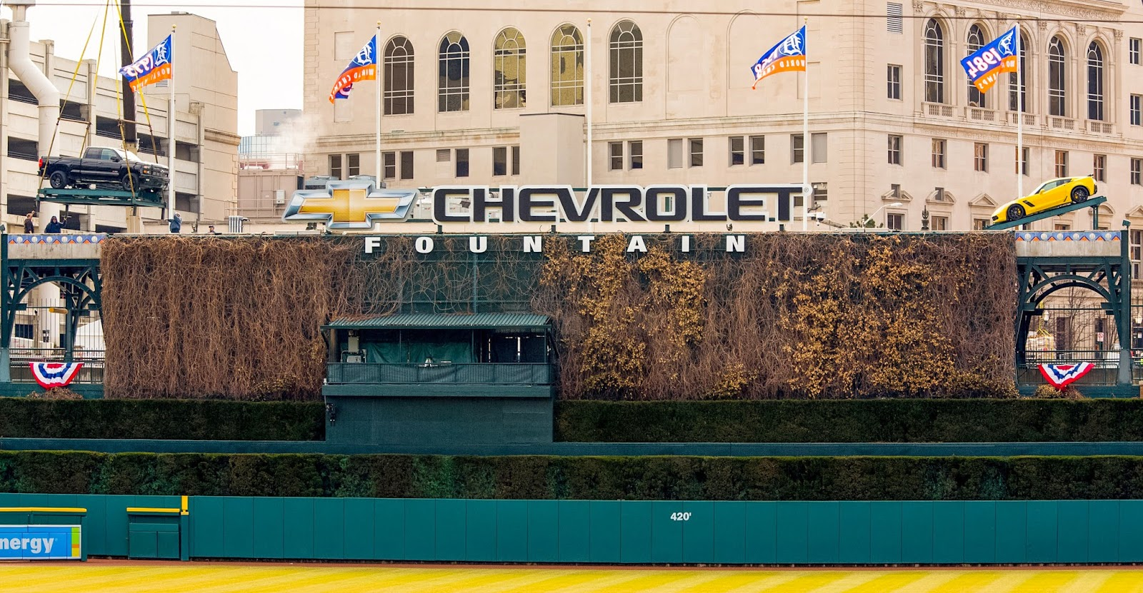 New Chevrolet Cars Parked Atop Comerica Park's Chevrolet Fountain