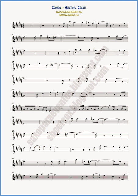 Partitura de Crimen para saxo tenor hoja 1