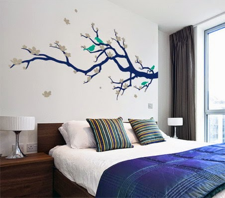 ...  In Contemporary House Interior Decoration.html /beautiful Japanese Tree And Birds Wall Stickers Decals In Small Master  Bedroom Decorating Design Ideas