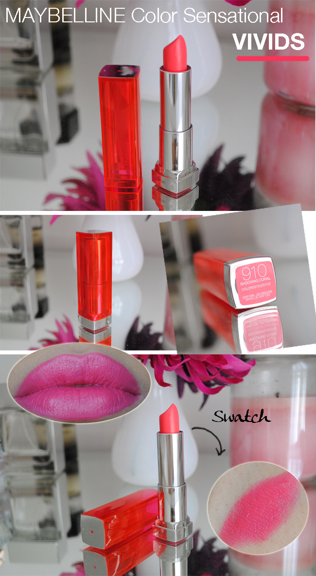maybelline color sensational vivids, shocking coral lipstick, review, swatch, daniela pires