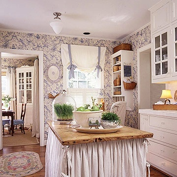 Cottage Style - Blue and White Toile Kitchen. How adorable! Pinterest