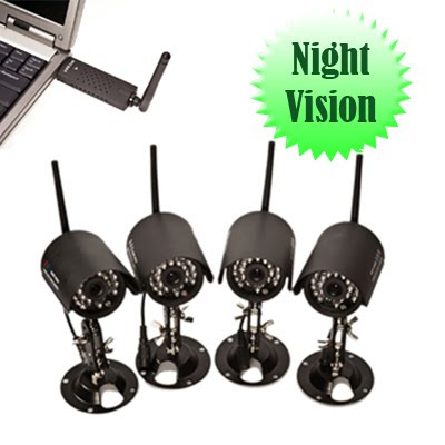 4 Camera Wireless Outdoor Security System Kit