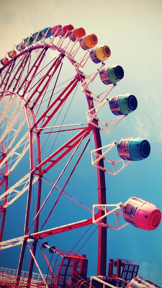 Colorful Ferris Wheel Blue Sky Amusement Park  Galaxy Note HD Wallpaper