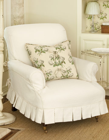 A Pretty Living Room Chair Gets Slipcovered With A Delicate Pleat, Lauren  Ross