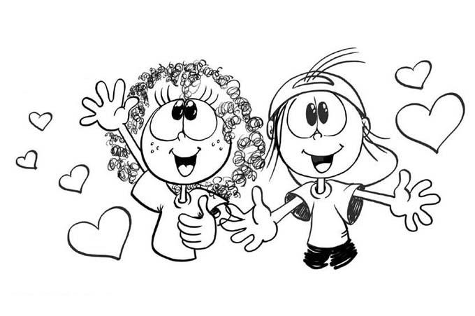 صورة اطفال ميغ ميق يحبون الجميع للتلوين