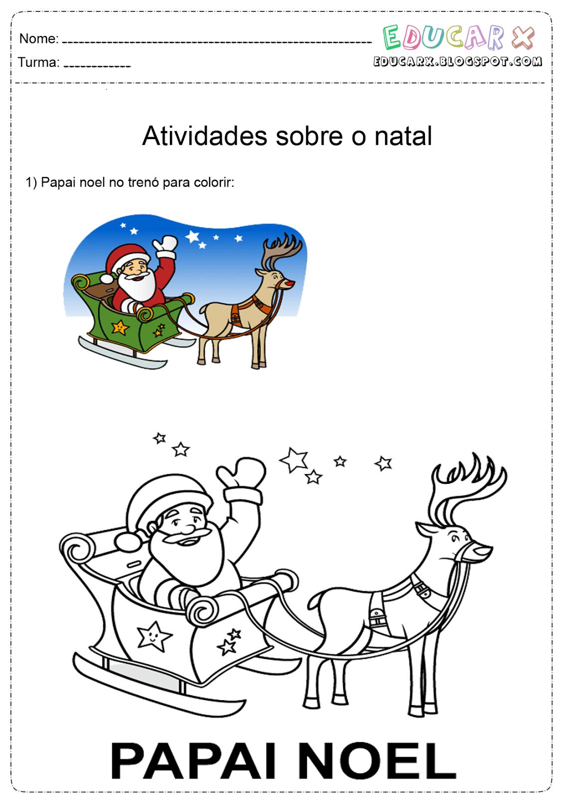 Desenho para pintar de Papai Noel voando em seu trenó - imagens de papai noel no trenó para colorir