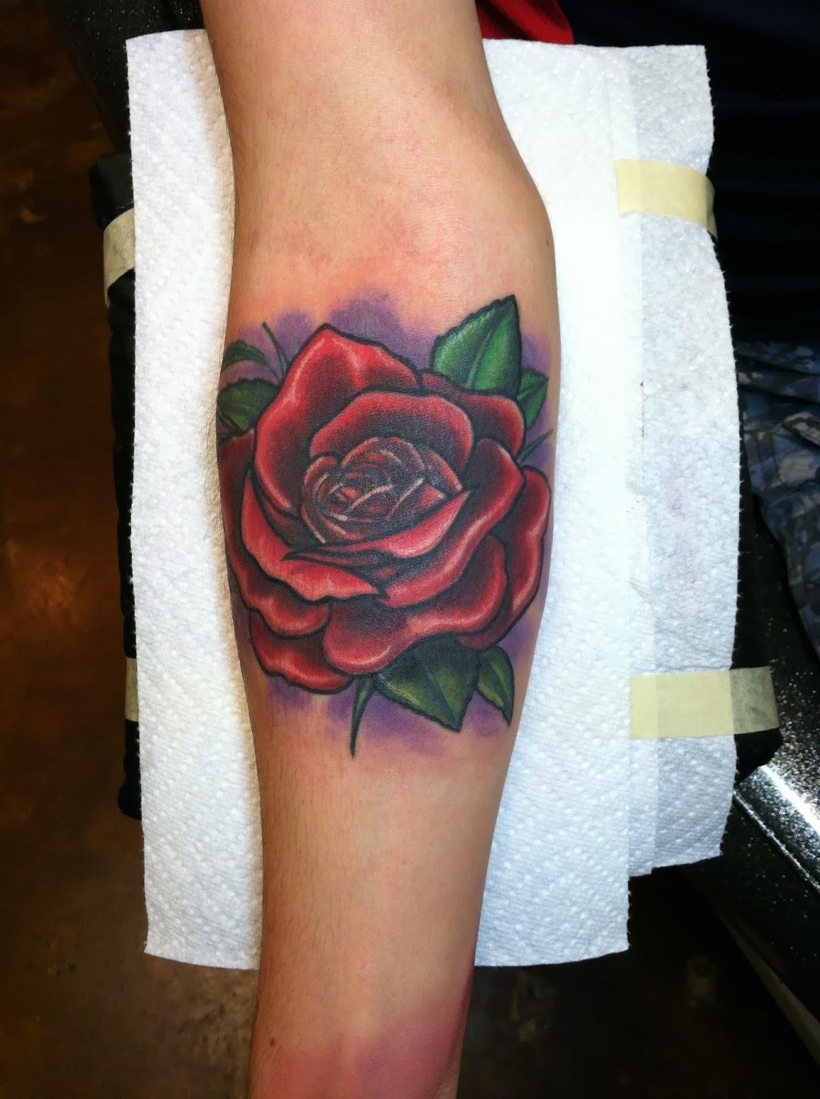 David Meek Tattoos: Illustrative Custom Color Rose Forearm Tattoo