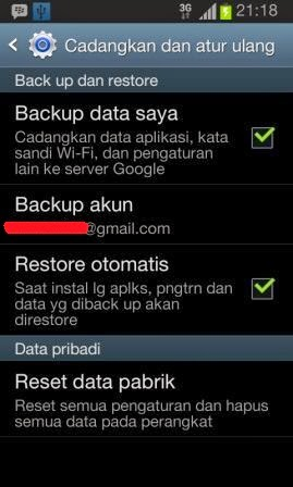 Cara back up Android di Google