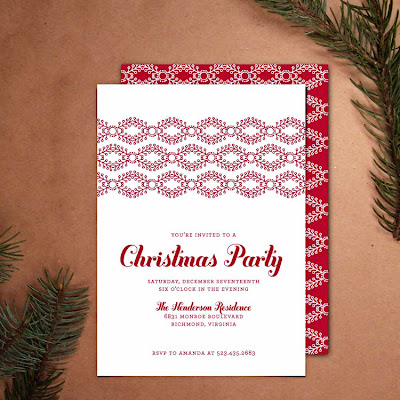 printable diy holiday party invitation red white cheerful modern unique