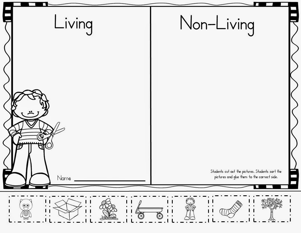 worksheet Living Vs Nonliving Worksheet science worksheets for grade 1 living and nonliving things mrs mcginnis little zizzers february