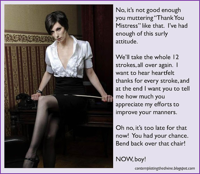 Dominatrix proposes to repeat the whole caning