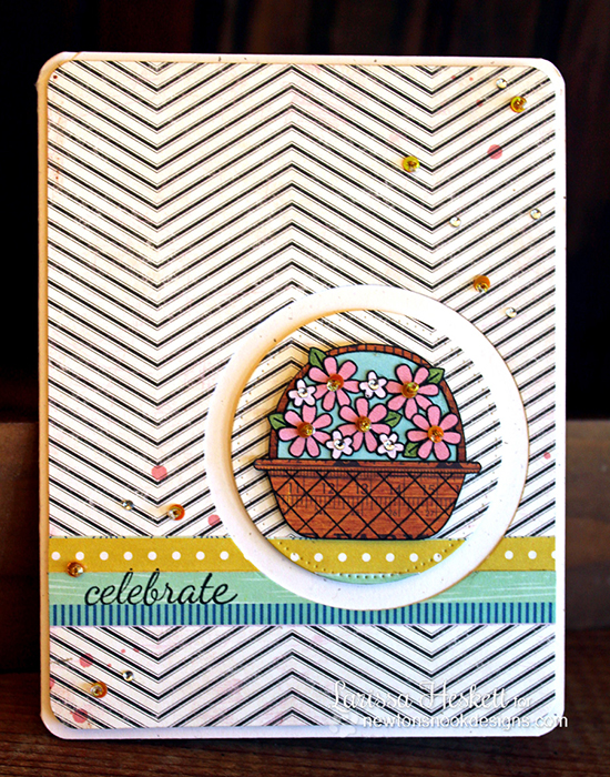 Flower Basket card by Larissa Hekett for Newton's Nook Designs