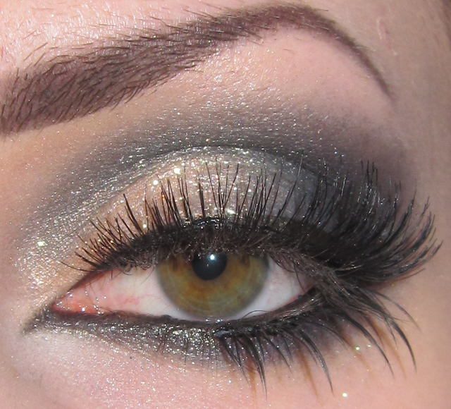Glitter is my crack Gold Blue and Black Dramatic Makeup look