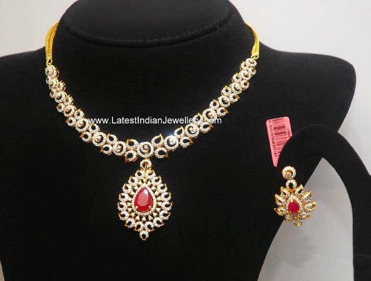Latest Diamond Ruby Necklace