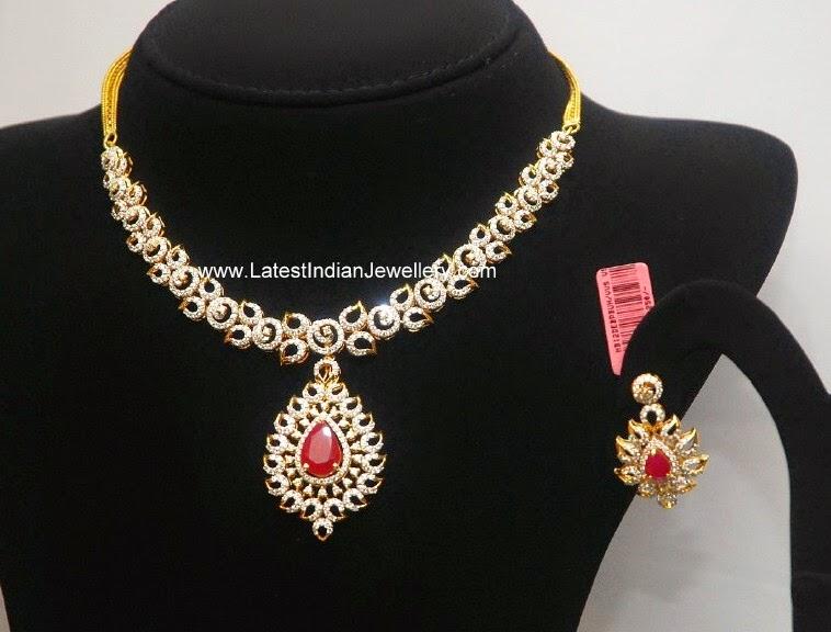 Latest Diamond Ruby Necklace