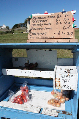 Vegetables for sale at a stall in Guernsey