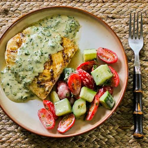 Summer Means Basil Vinaigrette and Grilled Halibut with Basil Vinaigrette