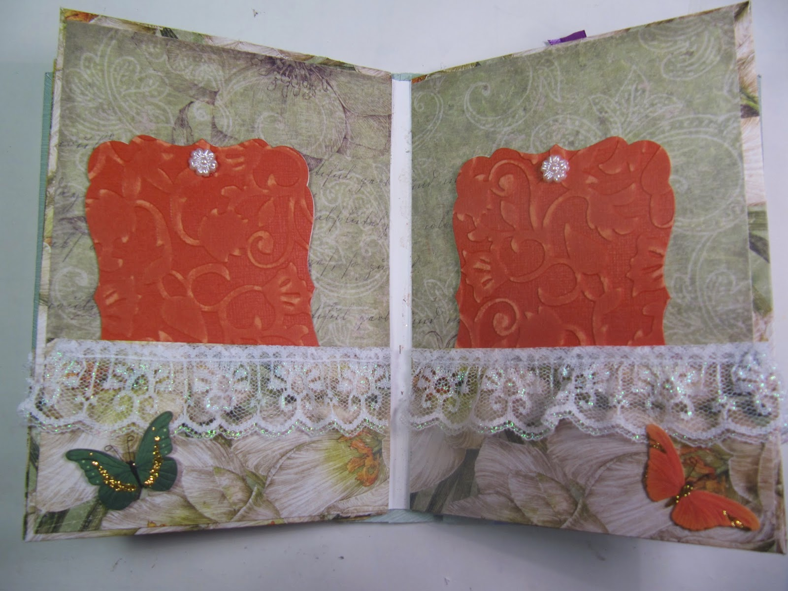 How to scrapbook a mini album - Here S A Scrapbook Mini Album I Made Using Chipboard Distress Ink Embossing Folders Lace The List Goes On The Details Are All Talked About In The