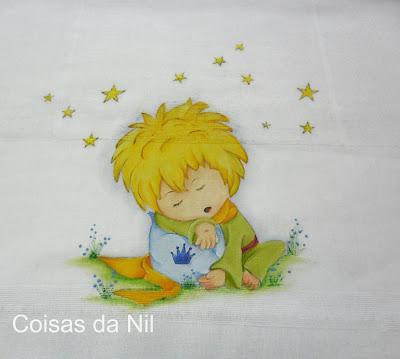 """""""fralda pintada com o pequeno principe"""""""