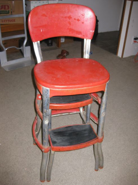 Vintage 1940s Mid-Century RED COSCO KITCHEN STEP STOOL Chair Seat Antique
