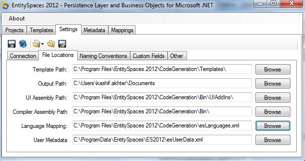 Microsoft EntitySpaces File Locations