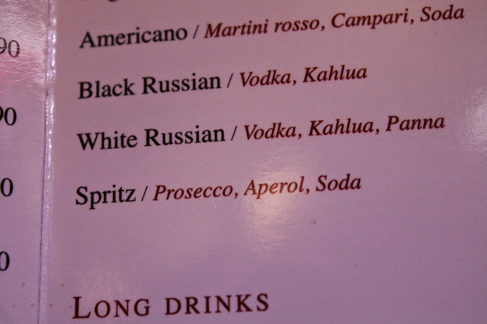 Italian menu listing for Spritz