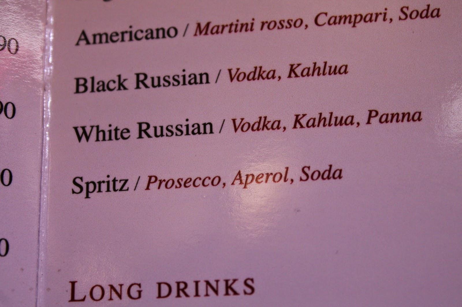 Italian menu listing for Spritz