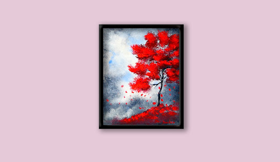 How to paint beautiful red tree on abstract grey background fall season landscape, oval brush, 102