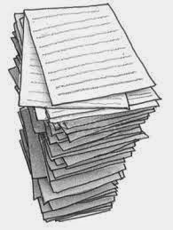 Drawing of a pile of printed A4 papers, a very tall pile!
