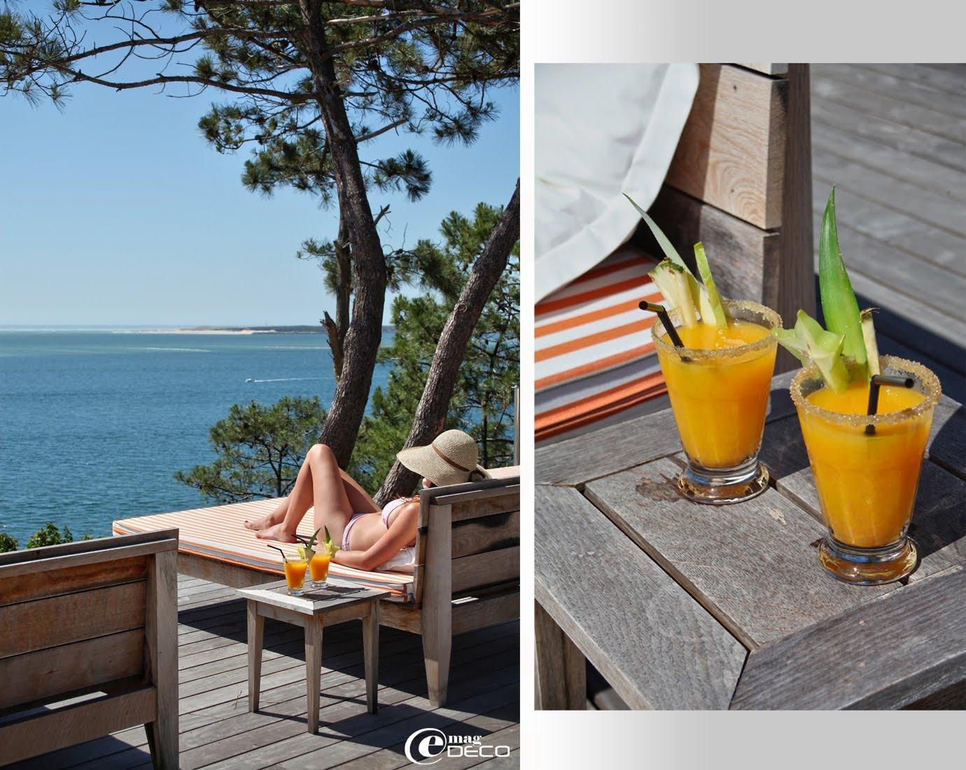 Vue de la piscine et sa terrasse en bois, l'embouchure du Bassin d'Arcachon et la pointe du Cap Ferret