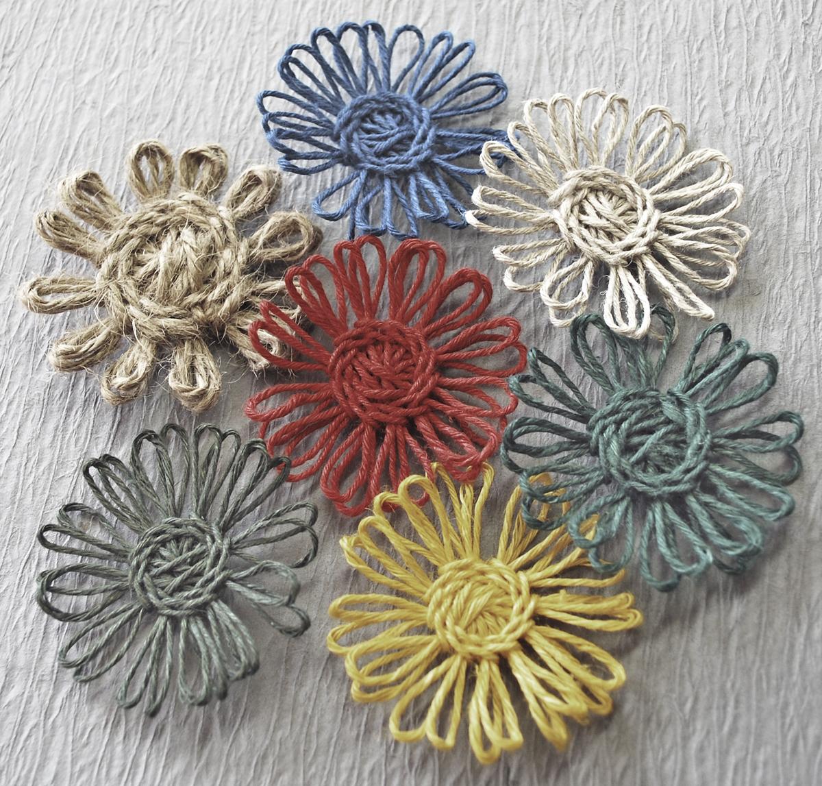 Цветы из шпагата мастер класс с пошаговым